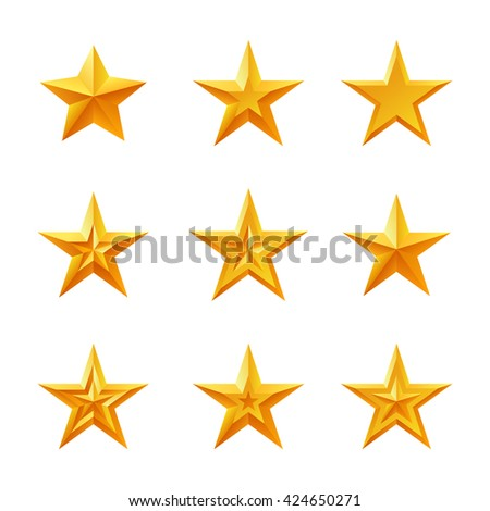 Golden stars set. Detailed icons of different forms. Isolated on white background. Vector illustration.
