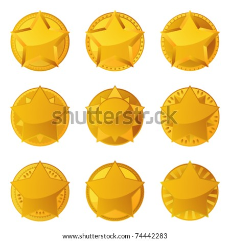 Golden stars with copy space - stock vector