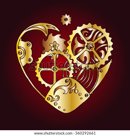 Golden steam punk heart with cogs and tooted wheels in clockwork style, vector design for Saint Valentine's Day - stock vector