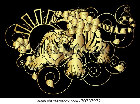 Traditional Flower Line Drawing : Golden style tiger face cherry flower stock vector 707379721