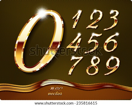 Golden stylish  digits, with shadow and reflections. Set. Zero 0 One 1 Two 2 Three 3 Four 4 Five 5 Six 6 Seven 7 eight 8 nine 9. vector . The rest of italic letters of the alphabet in my portfolio.