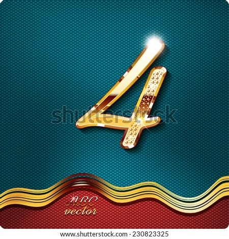 Golden stylish Inlaid figure is 4, with shadow and glare. vector digit four. The remaining digits in my portfolio. - stock vector