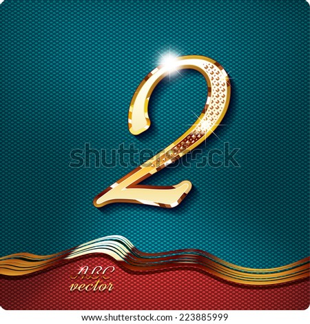 Golden stylish Inlaid figure is 2, with shadow and glare. vector digit two. The remaining digits in my portfolio. - stock vector