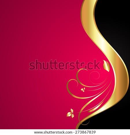 Golden Swirl Design Background - stock vector