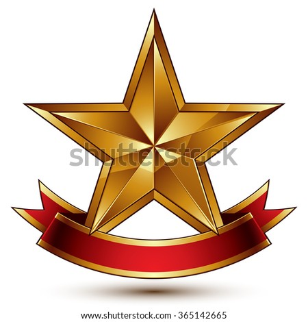 Golden symbol with stylized pentagonal glossy star and red decorative curvy ribbon, best for use in web and graphic design. Vector sophisticated icon isolated on white background - stock vector