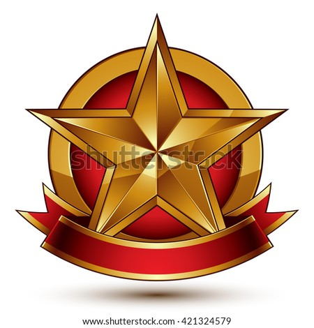 Golden symbol with stylized pentagonal glossy star and red decorative curvy ribbon, best for use in web and graphic design. Refined vector icon. Sophisticated gold ring isolated on white background. - stock vector
