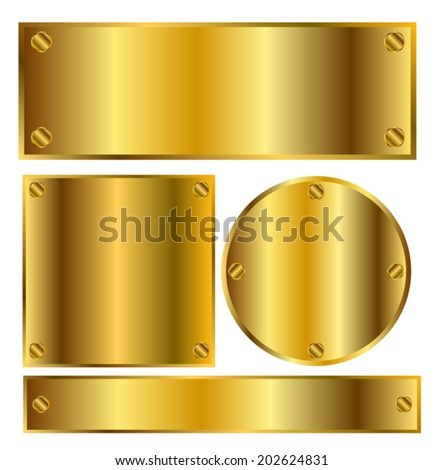 Golden tablets of different forms on a white background vector - stock vector
