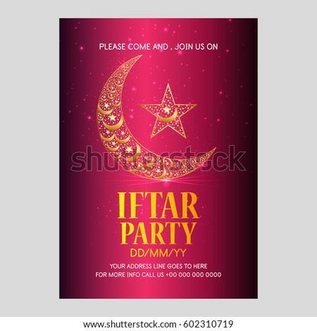 Golden text iftar gathering poster banner stock vector 602310713 golden text iftar gathering poster banner invitation design for islamic holy month stopboris Gallery