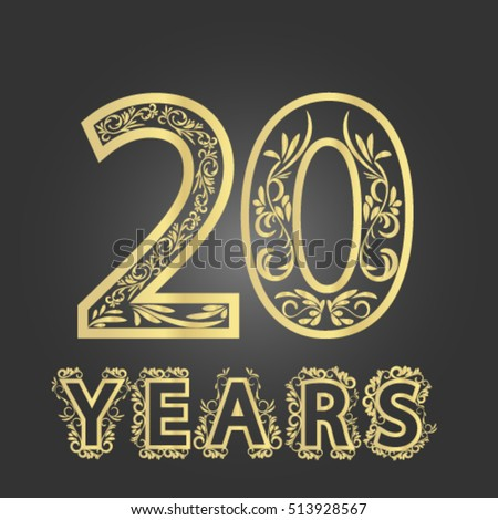 Golden 20th Years Anniversary Logo Sign Stock Vector 513928567
