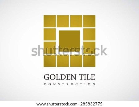 Golden tile or square logo simple symbol icon element vector design template for corporate identity or company - stock vector