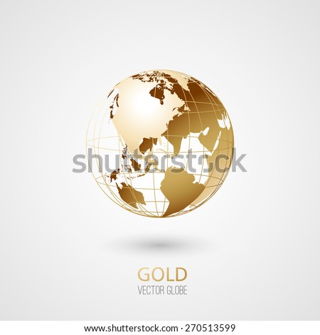 Golden transparent globe isolated in white background. Vector icon. - stock vector