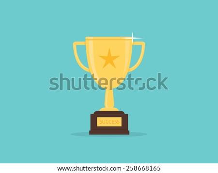 Golden trophy - stock vector