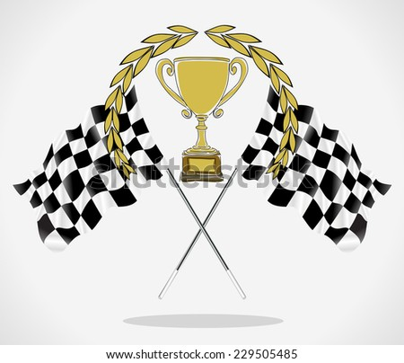 Golden Trophy and Flag, vector