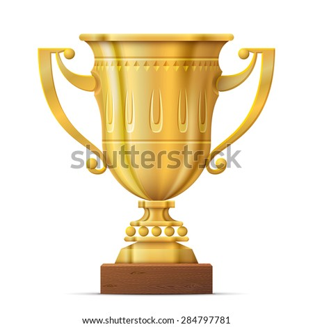 Golden trophy cup isolated on white background. Sport award on wooden stand. Qualitative vector illustration about reward, sports, victory, championship, achievement, winning, etc - stock vector