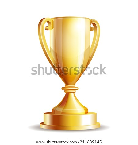 Golden trophy cup isolated on white background. Vector illustration - stock vector