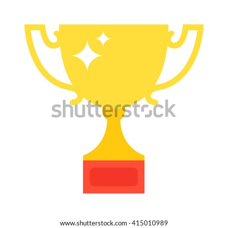 Golden trophy isolated on white background. Award cup vector and gold award cup. Award cup victory success winner sport prize. Gold place competition championship gold award. Contest reward. - stock vector