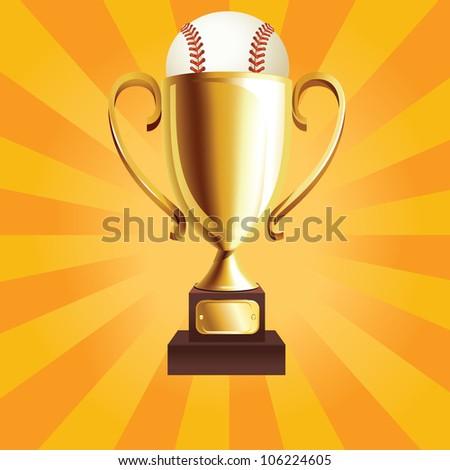 golden trophy with a baseball ball - stock vector