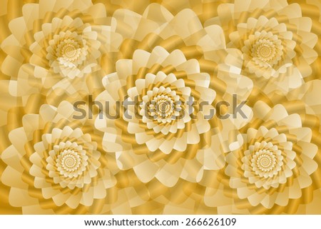 Golden twisted and ribbed spiral objects on background - stock vector