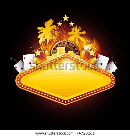 Golden vector casino neon banner sign - stock vector
