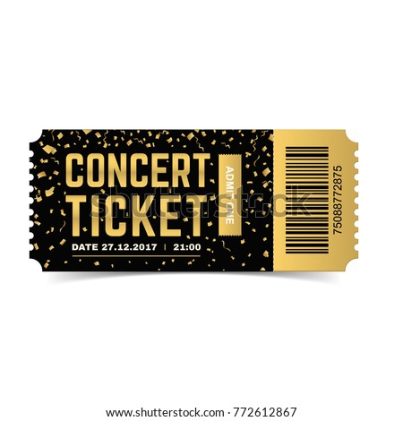 Golden Vector Concert Ticket. Realistic 3d Design With Gold Confetti On  White Background.  Concert Ticket Design