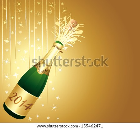 Golden vector festive background. Happy new year 2014 ! - stock vector