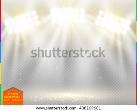 Golden vector spotlight light effect on transparent background. Concert scene with yellow sparks illuminated by white glow ray. Stadium warm projector. Show room - stock vector