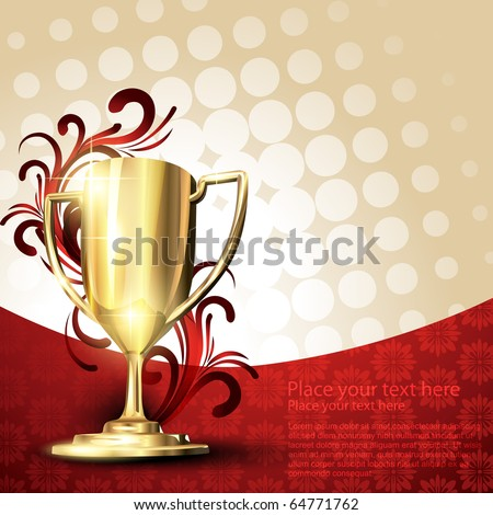 golden vector trophy design - stock vector