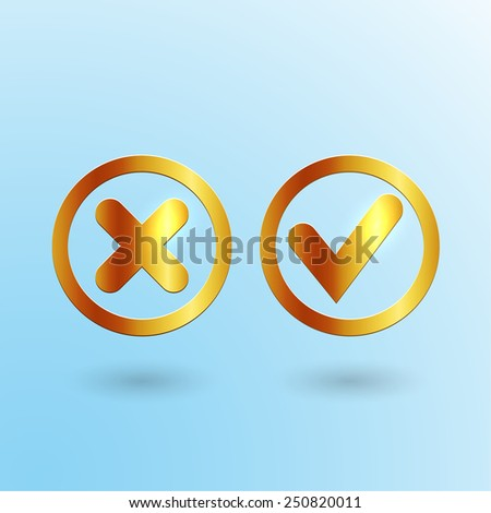 """Golden vector """"yes"""" and """"no"""" icons. Interface design elements.  - stock vector"""