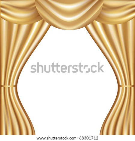 Golden Velvet Curtain With Lights And Shadows, Vector Illustration