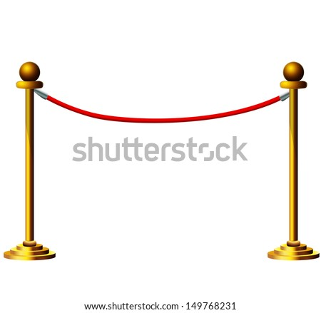 Golden Velvet Rope isolated on white background  - stock vector