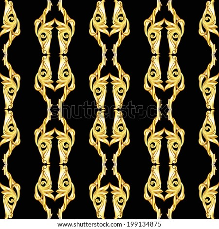 Golden vertical symmetry patterns on the black background.