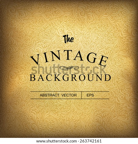 Golden vintage background. Vector template - stock vector