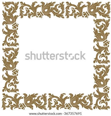Golden vintage baroque frame scroll ornament engraving border floral retro pattern antique style acanthus foliage swirl decorative design element filigree calligraphy vector