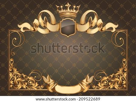Golden vintage blank - stock vector
