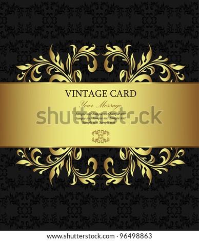 Golden vintage card - stock vector