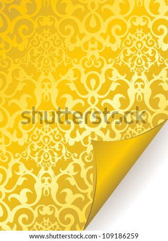 Golden vintage curled paper with ornaments - stock vector