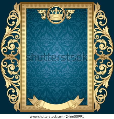 Golden vintage frame - stock vector