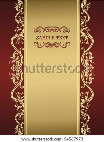 golden vintage template for your text - stock vector