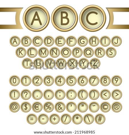 Golden vintage typewriter buttons alphabet - stock vector