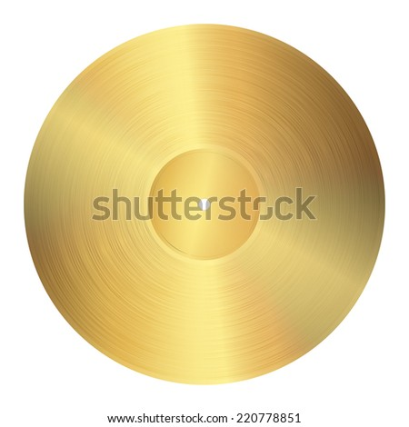 golden vinyl record - stock vector