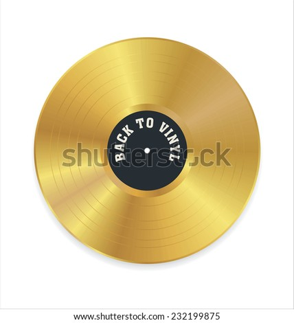 Golden vinyl record - stock vector