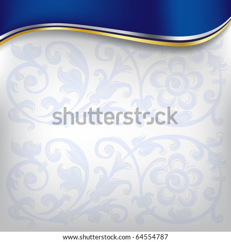 golden wave on blue background - stock vector