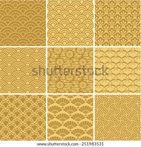 Golden Wave Patterns Set Seamless Texture For Wallpaper Pattern Fills Web Page