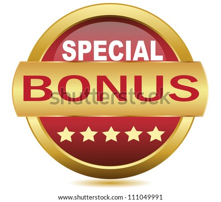 Golden Web button bonus.Vector - stock vector