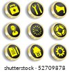 golden web icon set (vector, CMYK) - stock vector