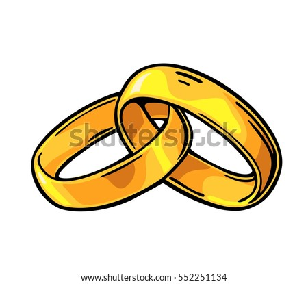 Golden Wedding Rings Hand Drawn Graphic Stock Vector 2018