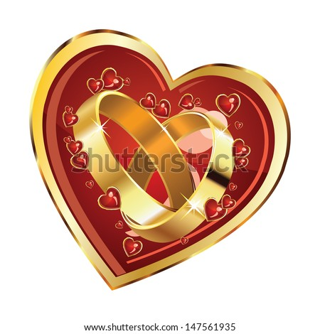 Golden wedding rings in big red heart on white background. - stock vector