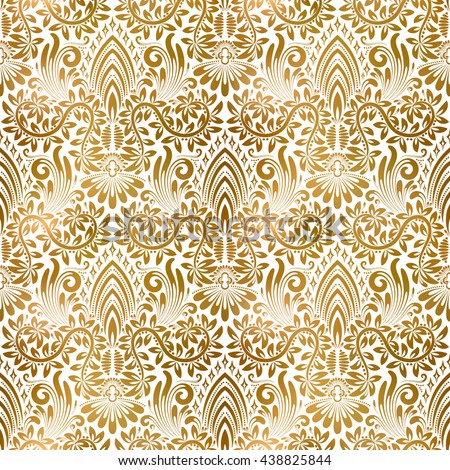 Golden White Vintage Seamless Pattern Gold Royal Classic Baroque Wallpaper Antique Background Ornament