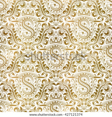 Golden White Vintage Seamless Pattern Gold Royal Classic Baroque Wallpaper Victorian Background Ornament