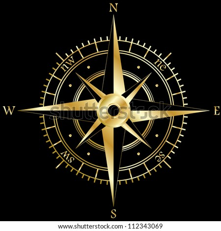 Golden wind rose isolated on black - stock vector